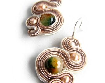 "Soutache earrings ""Serpent"" Free Shipping"