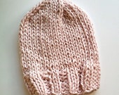 knit baby hat . pastel pink . organic cotton . infant