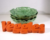 Three vintage Holland Mold lettuce leaf salad plates pot saucers 1962