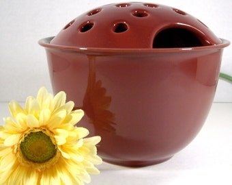 Vintage Modern Ceramic Vase with Frog Lid Planter 1980s