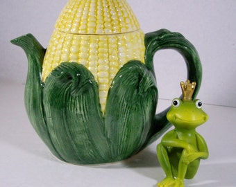 Vintage Teapot Corn Design Vegetable Collection Farmhouse Decora 1988