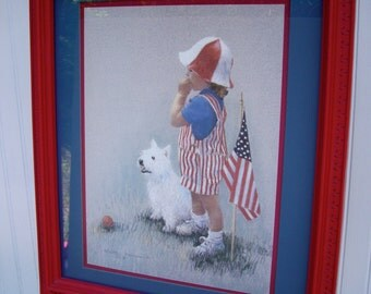 Patriotic/ Fourth of July/ Fireworks/ Vintage Patriotic Boy Flag Signed by Artist 1992