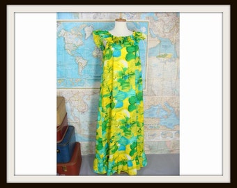 Temporarily Reduced was 33.33 vintage 60s 70s Yellow Green Blue Hawaiian Fashions Ruffled Maxi Hostess Island Dress M