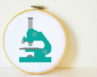 Cross stitch Pattern PDF. Microscope. Includes easy beginners instructions.