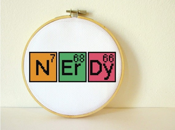 Counted Cross stitch Pattern PDF. Instant download. Nerdy Periodic Table. Includes easy beginners instructions.