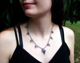 Beaded Chain Necklace Purple Fairy Jewelry Fantasy Whimsical Delicate Jewelry