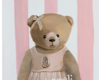 Pink Nursery Art, Teddy Bear Print, Baby Girl Nursery, Baby Girl Gift, Bear painting, Pink Teddy Bear art, Girl's Nursery Decor,Bear Nursery