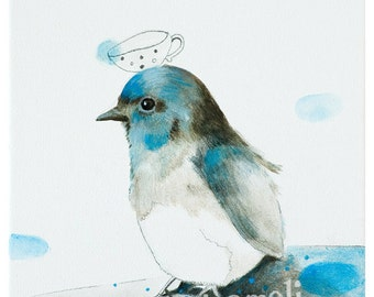 Bird Nursery, Nursery Art, Nursery Decor, blue bird, animal painting, Nursery Art Print, whimsical bird acrylic art