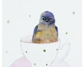 Bird in cup art - bird art print - bird wall art - bird artwork - whimsical decor - animal artwork - inameliart - 9,8x9,8