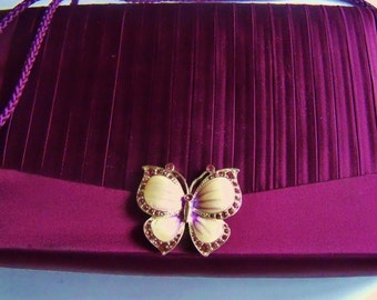Purse Burgundy Restyled Assemblage Fabric Butterfly Bride Wedding Gift for Her