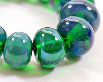 Gaia Silver Glass Lampwork Beads Set of 16