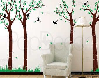 """Trees wall decal birch tree decal nursery wall decors- Dance with breeze colorful tree decals (102""""H) - Designed by Popdecors"""
