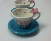personalized tea cup and saucer child size cherry blossom