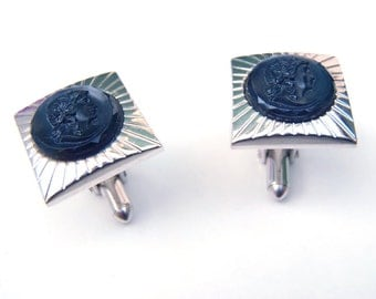 Vintage Swank Silver Tone Black Glass Cuff Links Starburst Stamped Squares Black Glass Circles Woman's Face Cufflinks Formal Business Wear
