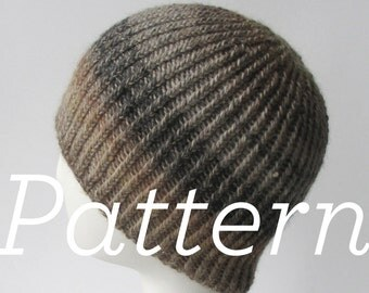 Knit Hat Pattern // Twisted Rib Reversible Hat - pattern only - PDF