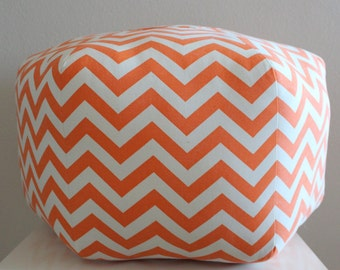 "24"" Ottoman Pouf Floor Pillow Orange Natural Zig Zag Chevron"