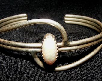 Vintage Sterling Silver Opal Navajo Artisan Native American Silversmith Bracelet Charley