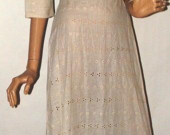 Lovely Antique Eyelet Lace Cotton Titanic Era Edwardian Empire Waist Vintage Dress Sm Med