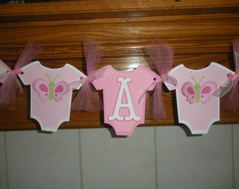 It's A Girl Baby Banner, Shower Onesie Baby Banner, Pink Butterfly Baby Banner, Gender Reveal Banner, Matching Tissue Pom Poms Available