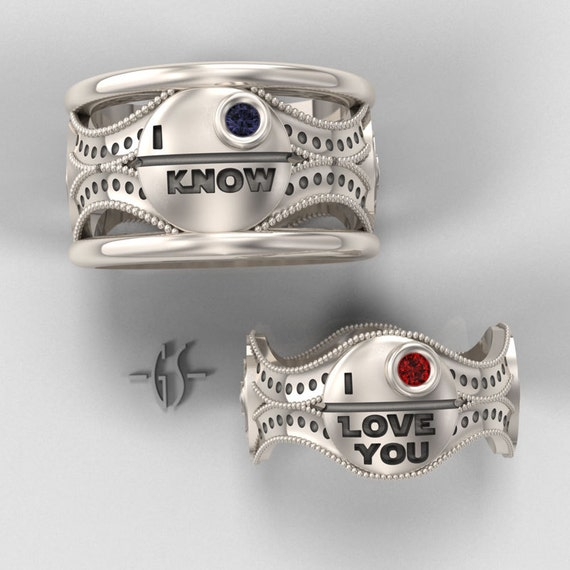 His and hers star wars ring set sterling silver with rubies for Star wars wedding rings
