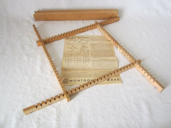 Vintage Wooden Montgomery Ward Waffle Weaving Loom with Instructions