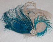 Turquoise Blue Bleached Peacock and Ivory Feather Boutique Hair Clip Bridal Fascinator w Pearl accents Photp Prop