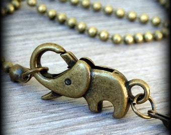 Steampunk Cute BABY ELEPHANT necklace  pendant charm good luck charm Victorian Antique style