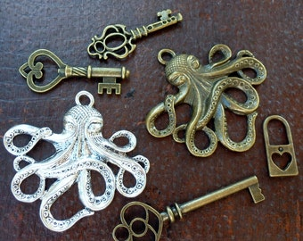Wholesale Steampunk nautical Marine Octopus key antique pendant charm necklace lot 5