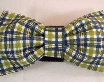 Dog Flower, Dog Bow Tie, Cat Flower, Cat Bow Tie - Green and Blue Plaid