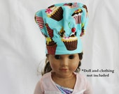 Retro Teal Cupcake Doll Size Chef Hat