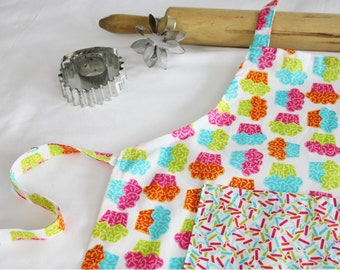 Neon Cupcakes Child Apron with sprinkles pocket
