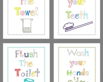 Art for Bathroom, Set of Four  8x10 prints,great for boy or girl