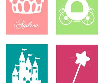 "Princess Decor // Princess Art Prints // Custom Name Art for Girls // Princess Wall Art // Baby Girl Decor // Set of Four 8""x10"" PRINTS ONLY"