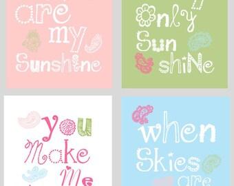 You are my sunshine Decor // Nursery Decor // Pink Blue and Green Art Prints // Girl Nursery Art Prints // Bird Art Prints // 4-8x10 Prints