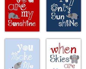 Elephant Nursery Decor // You Are My Sunshine Art for Kids // Navy Blue Nursery // Art for Baby Boy // Elephant Art // Four PRINTS ONLY