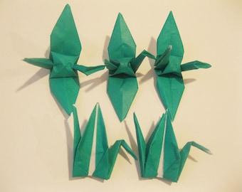 """100 3"""" Dark Green origami cranes paper cranes wedding party decoration single color"""
