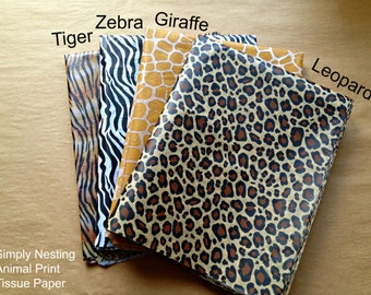 10 sheets, Animal Print Tissue Paper Sheets, Tiger, Zebra, Giraffe, Leopard, Animal Party, Zoo Party, Safari Party, Nursery Decor, DIY Poms