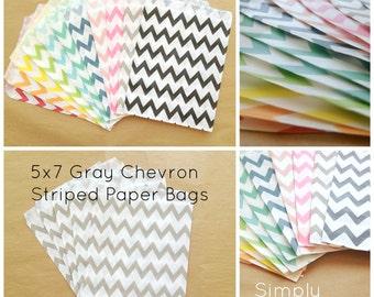 SALE Gray Chevron Striped Party Favor Bags, 24 5x7 Chevron Striped Paper Bags