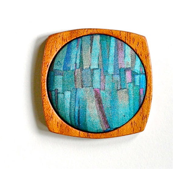 Wooden Brooch / Pendant - Liberty of London and Mahogany - Aqua Blue Teal Pink Gold Bookshelves