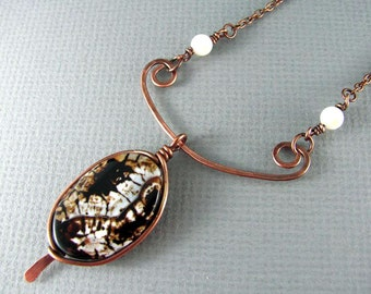Wire Wrapped Necklace Copper Necklace Agate Necklace Wire Wrapped Jewelry Copper Jewelry Wire Wrapped Pendant