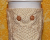 Athena Coffea Coffee Cup Cozy Knitting Pattern w/Owl Cable & Laurel Leaf