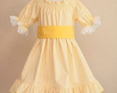 Spring dress-Custom made- 6 months to 10 years-baby, toddler, girl-Gingham and lace dress