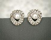 MILLIE, Wedding Stud Earrings, Bridal Pearl Earrings, Rhinestone Teardrop Shaped Bridal Stud Earrings, Bridesmaid Earrings Jewelry