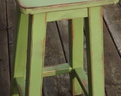 "Reclaimed wood/ Distressed/ bar stool/ counter stool/ painted/ green/ 30"" H"