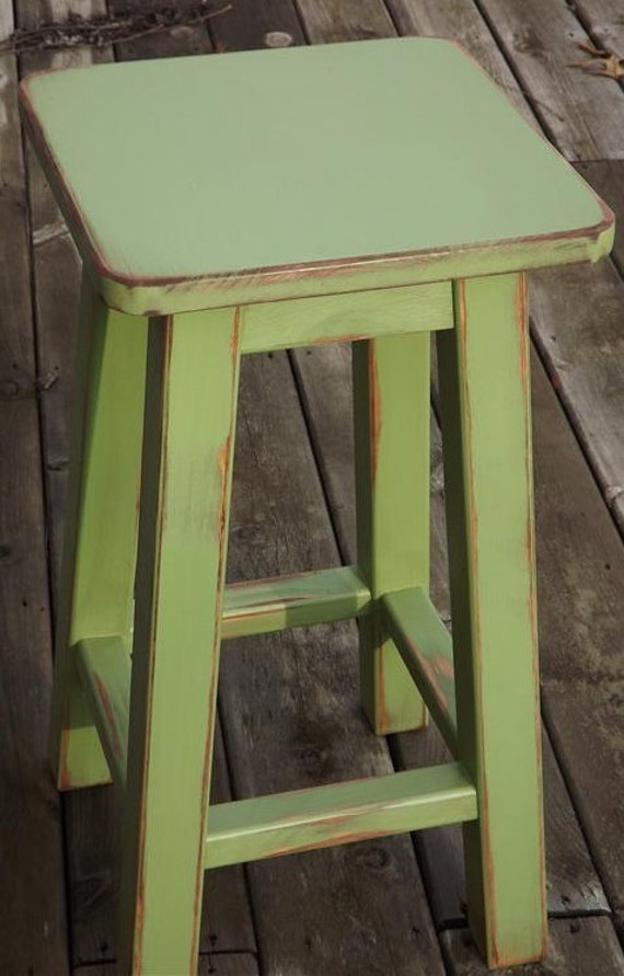 Wood Bar Stool Distressed Bar Stool Counter Stool Painted