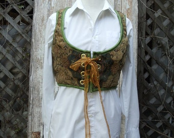 Vintage Upholstery Material,Grommets,Ribbon,Fitted Vest/Corset, Upcycled,Eco Friendly