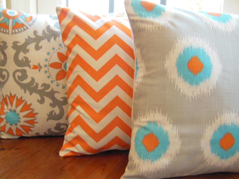 aqua orange pillows etsy best review