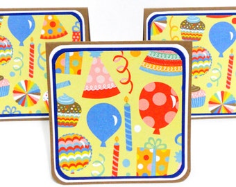 CLEARANCE-Mini Notecards, Mini Greeting Cards, Gift Bag Tags- Set of 6- Happy Birthday: 3 x 3 inches approx.