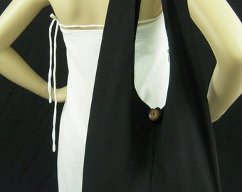 Cotton Bag Purse Crossbody Messenger Sling Thai Monk Buddha Hobo Hippie Medium in Black