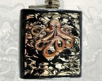 Metal Flask Steampunk Oxidized Brass Octopus Inlaid in Hand Painted Black Liquid Ink Design Neo Victorian Kraken with Personalized Options